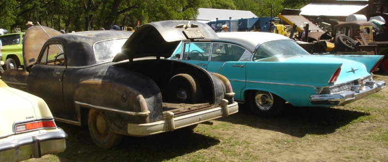 Great bustle-back Dodge and a slick 57 Lincoln sedan.